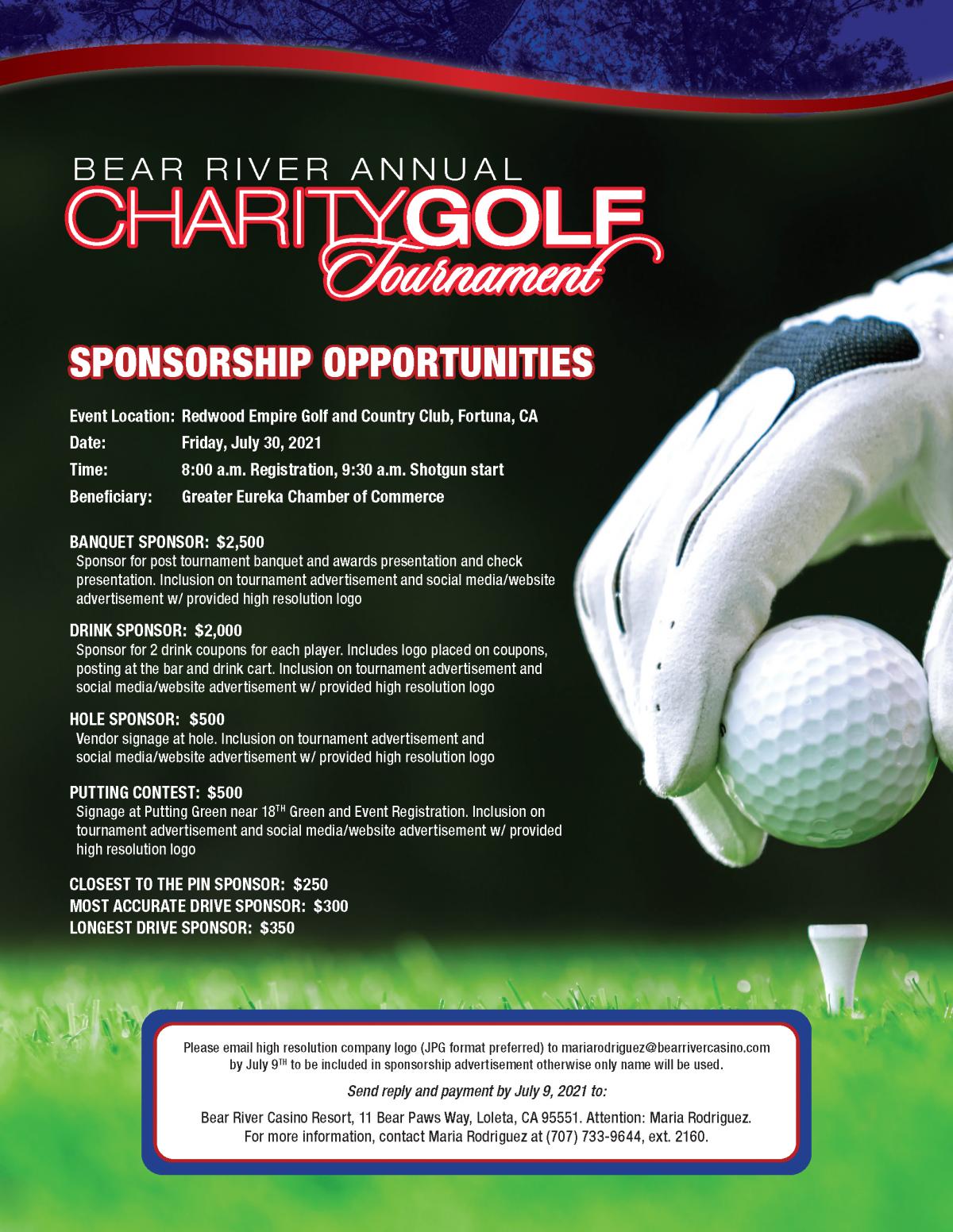 Eureka Chamber of Commerce Bear River Annual Golf Tournament Sponsors